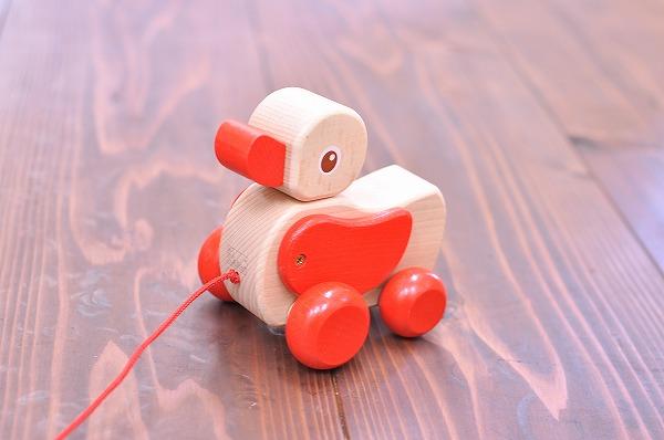 引っぱる・動かすおもちゃ ニック社(NIC) 白木のあひる