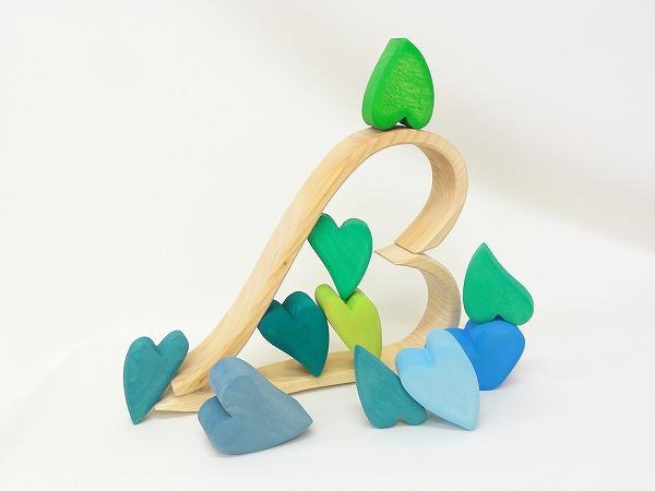 ハートの積み木 ブルー